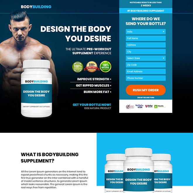 bodybuilding supplement responsive landing page design Bodybuilding example