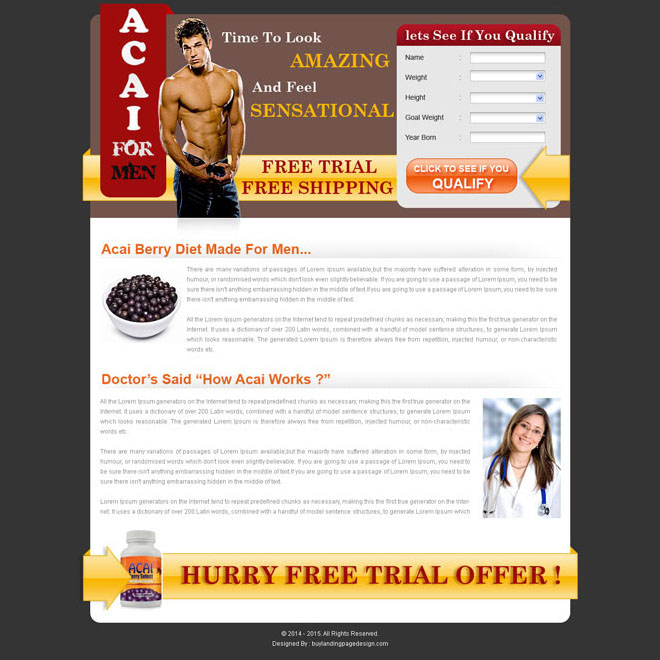 acai berry for men bodybuilding landing page design Bodybuilding example