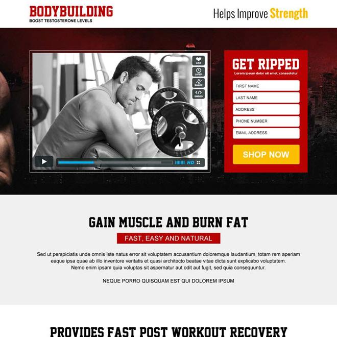 bodybuilding service lead generation video landing page design Bodybuilding example