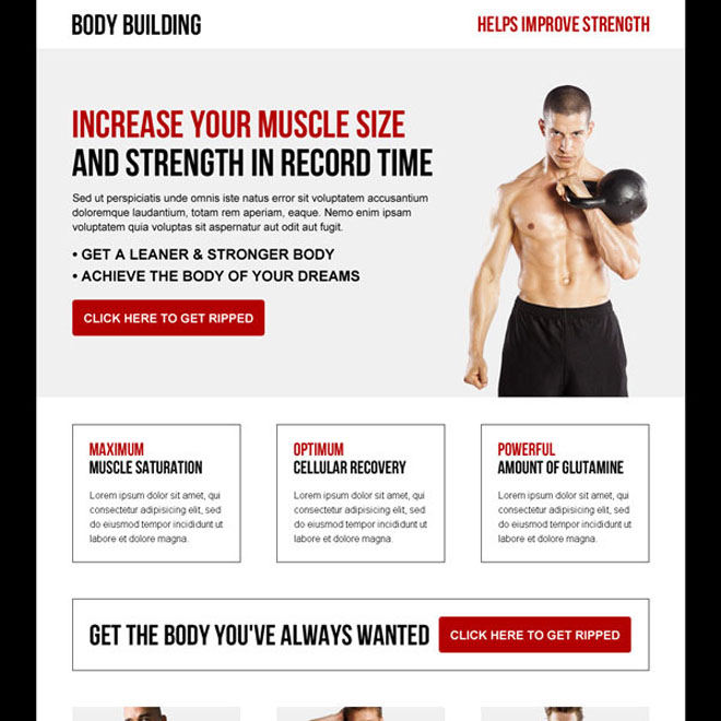 increase your muscle size and strength in record time responsive body building landing page Bodybuilding example