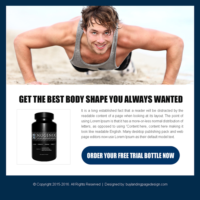 bodybuilding free trial bottle converting ppv landing page design Bodybuilding example