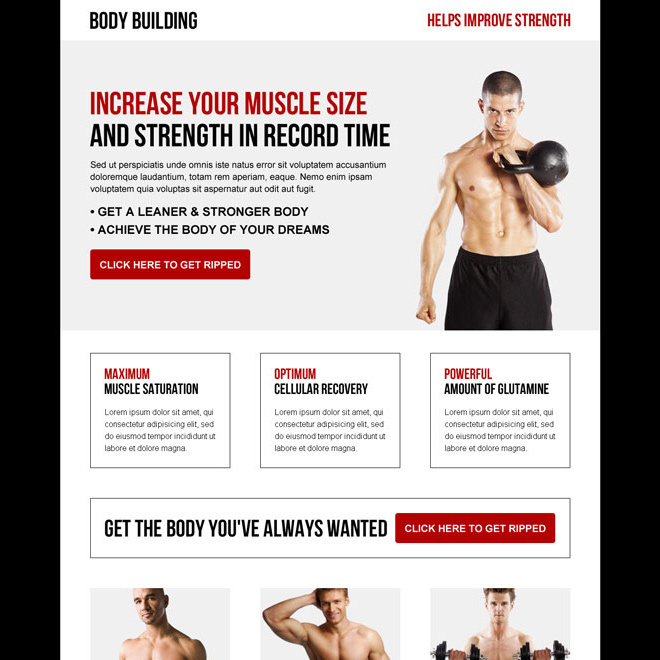 increase your muscle size and strength in record time bodybuilding landing page Bodybuilding example