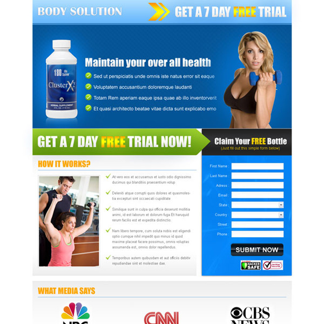 bodybuilding solution lead capture landing page design for sale Landing Page Design example
