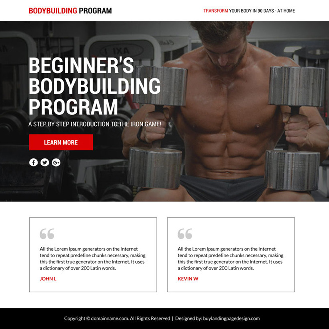 bodybuilding lead funnel responsive landing page Bodybuilding example