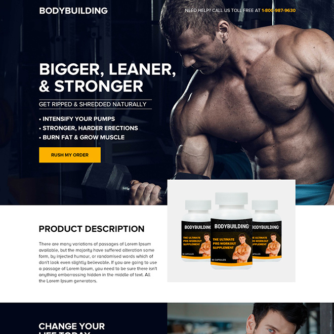 bodybuilding product selling bootstrap landing page Bodybuilding example