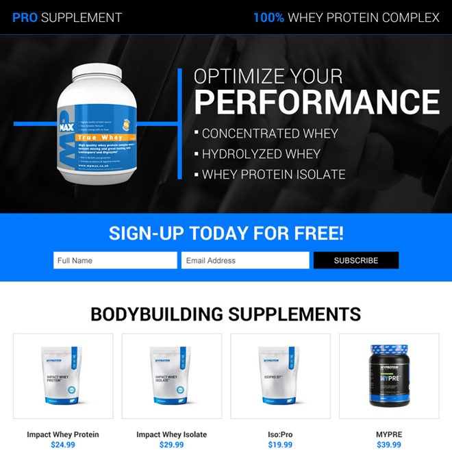 body building pro supplements sign up capturing landing page Bodybuilding example