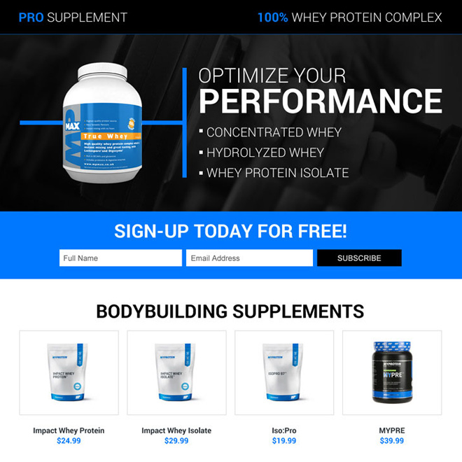 responsive body building pro supplements landing page Bodybuilding example