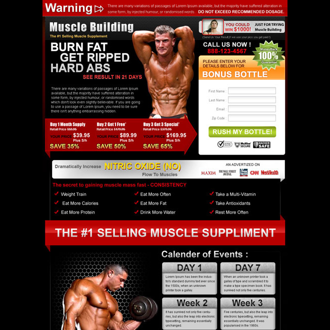 burn fat get ripped highest converting bodybuilding lead capture landing page design Bodybuilding example