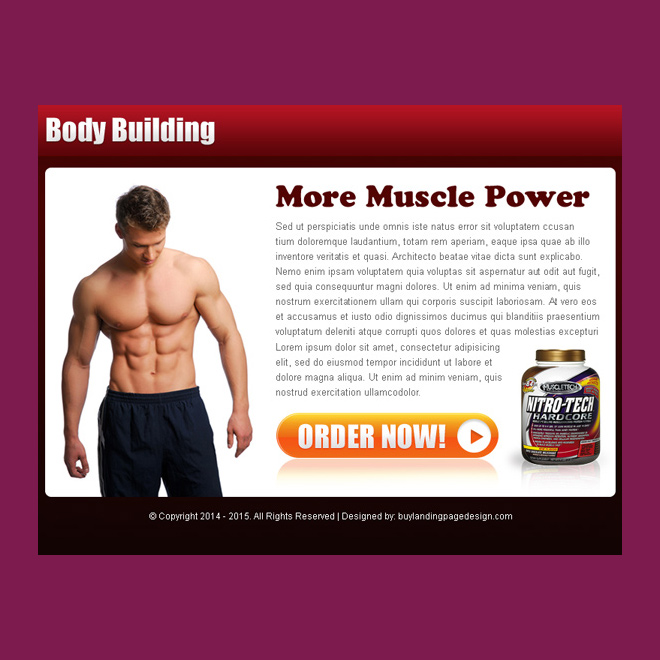 bodybuilding product selling ppv landing page design PPV Landing Page example