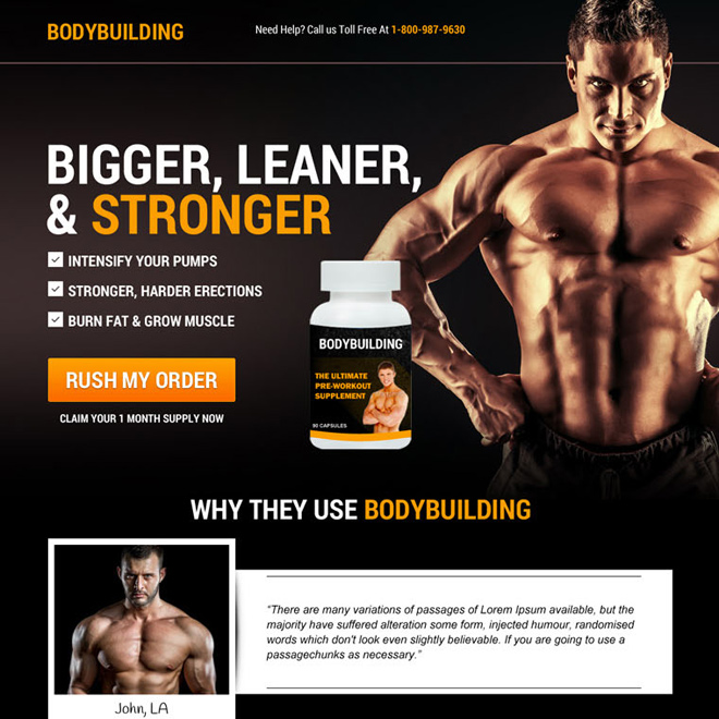 body building supplement selling responsive sales page design Bodybuilding example