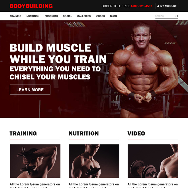 professional bodybuilding responsive website design Bodybuilding example