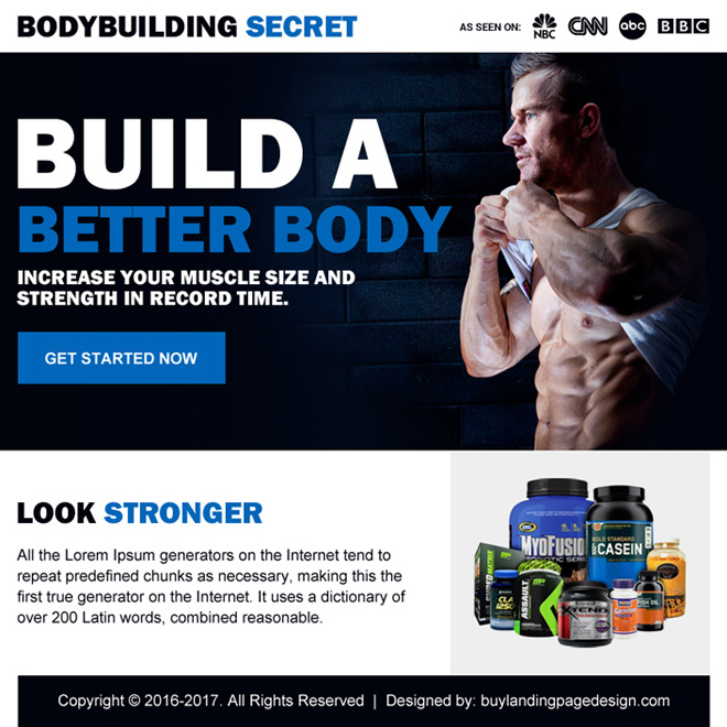 bodybuilding product selling ppv landing page design Bodybuilding example
