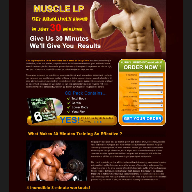 bodybuilding service lead capture lander design template Landing Page Design example