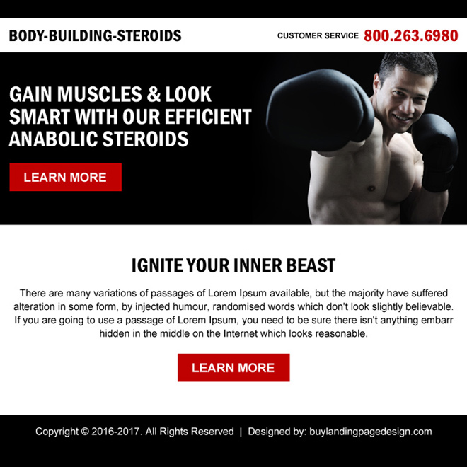 clean body building call to action ppv landing page Bodybuilding example