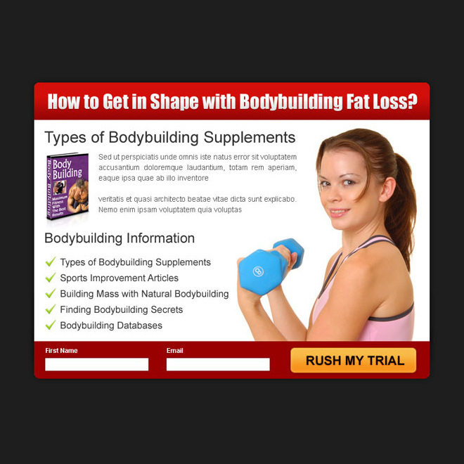 get in shape with body building fat loss product ppv landing page design PPV Landing Page example