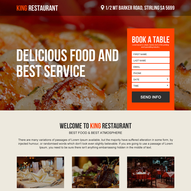 restaurant online booking converting landing page design Hotel And Restaurant example