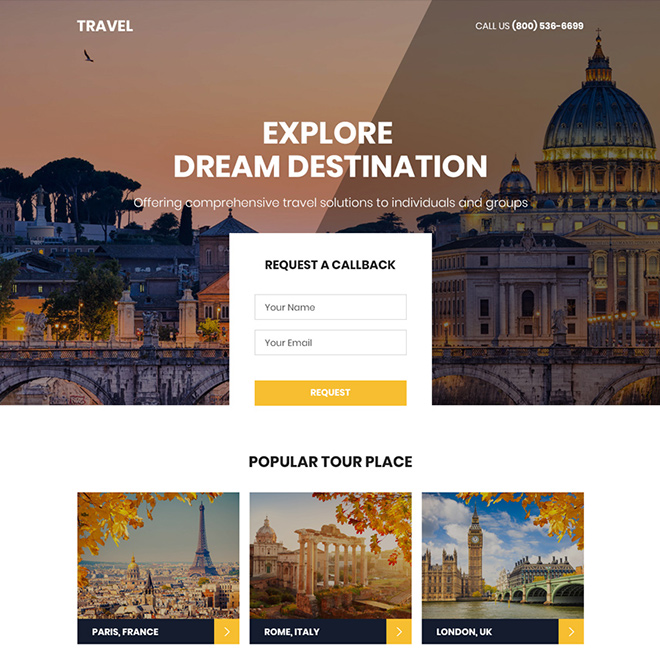 perfect holiday tour package booking responsive landing page design Travel example