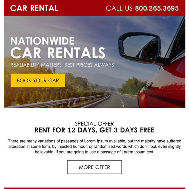 lead gen ppv landing page design for car rental business Car Hire example