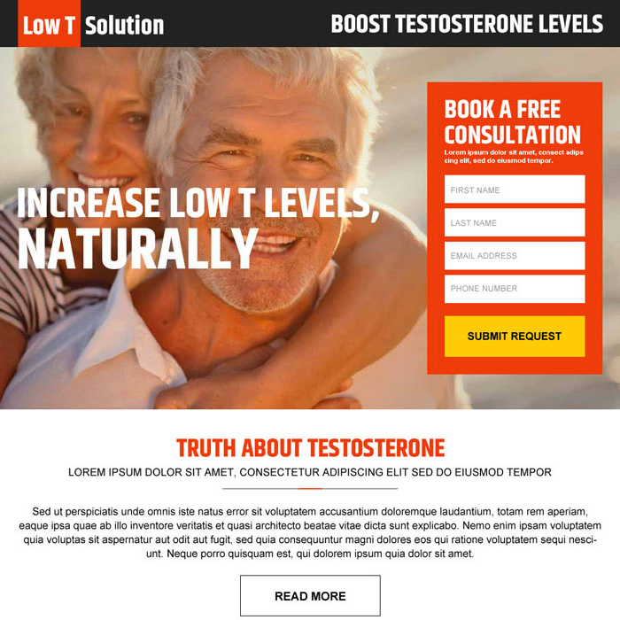 boost testosterone levels responsive landing page design Low Testosterone example