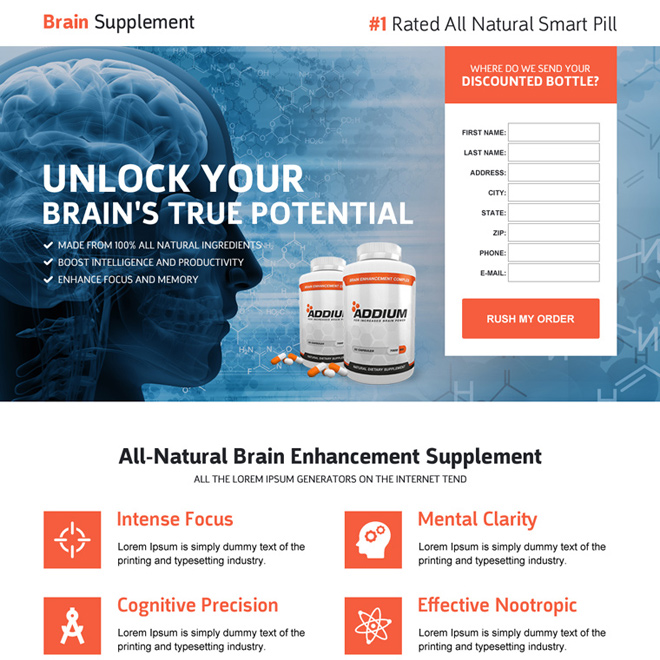 responsive brain supplement product selling landing page design Health and Fitness example