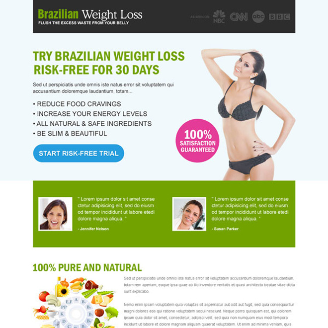 brazilian weight loss risk free trial call to action converting landing page design Weight Loss example