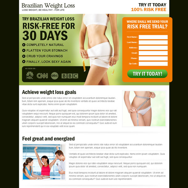 brazilian weight loss lead capture most effective landing page for weight loss product Weight Loss example