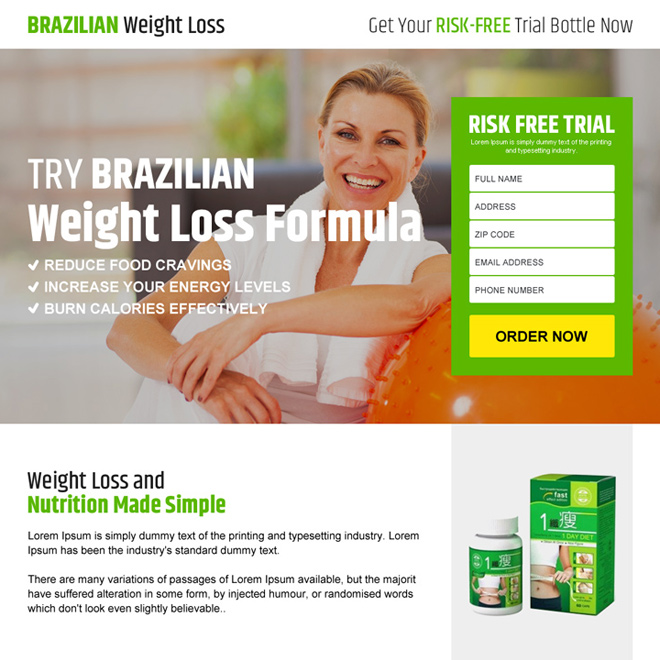 brazilian weight loss risk free product trial responsive landing page design Weight Loss example