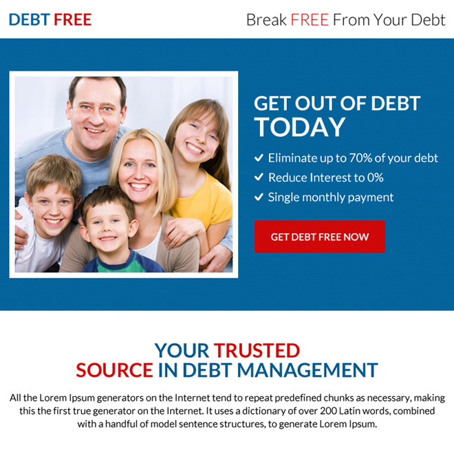 professional debt free ppv landing page design Debt example
