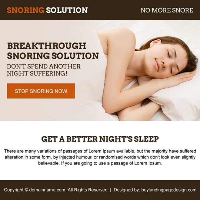 minimal snoring solution ppv landing page design Anti Snoring example