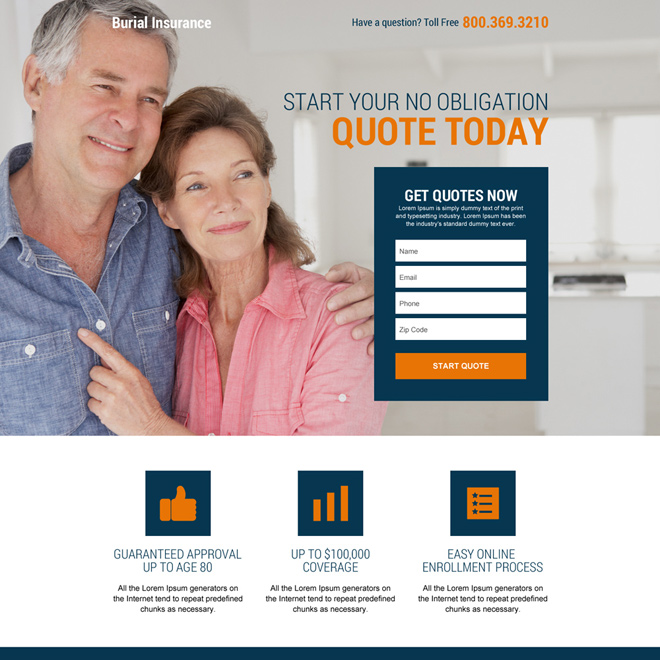 burial and final expense insurance responsive landing page Burial Insurance example