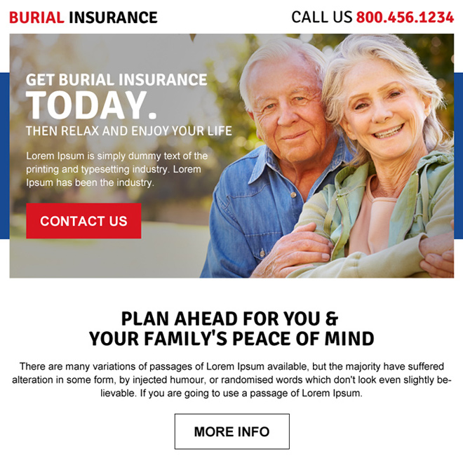 burial insurance call to action ppv landing page desigbn Burial Insurance example