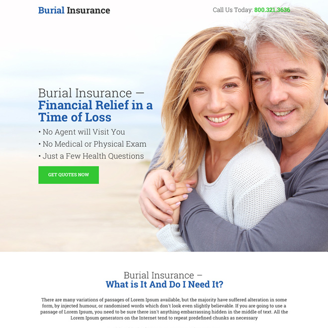 burial insurance for financial relief bootstrap landing page Burial Insurance example