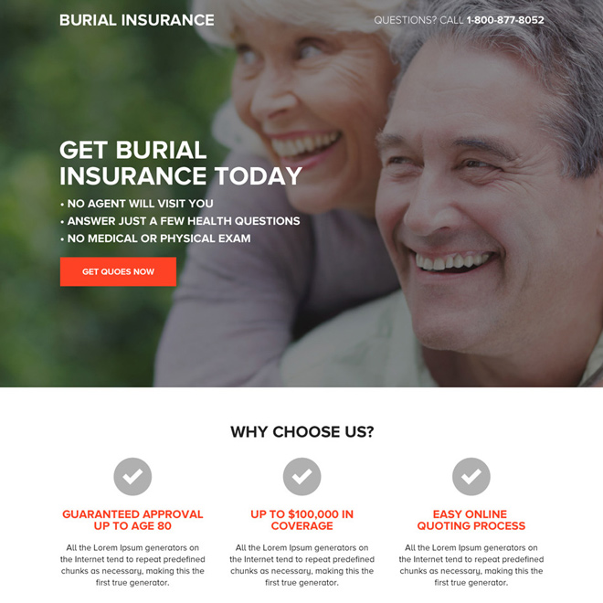 burial insurance quotes responsive landing page design Burial Insurance example