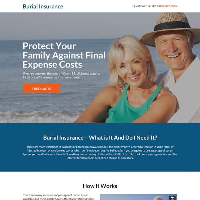 burial insurance free quote responsive landing page Burial Insurance example