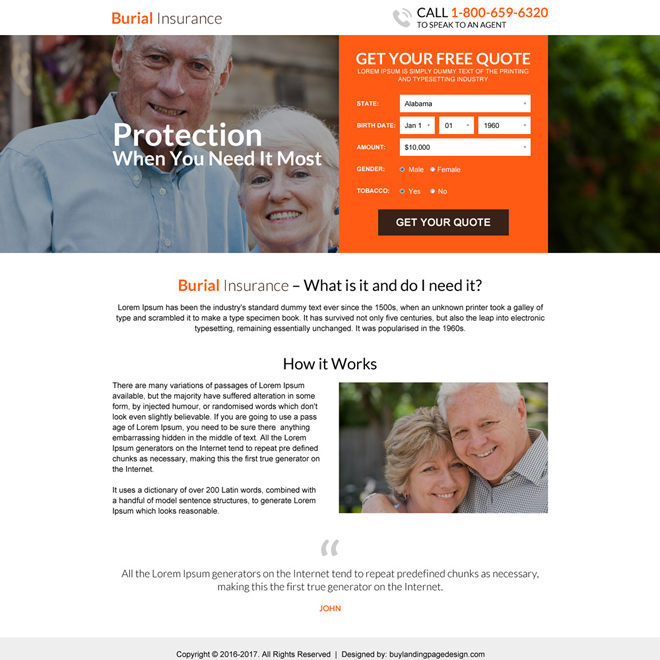 burial insurance free quote lead gen mini landing page Burial Insurance example