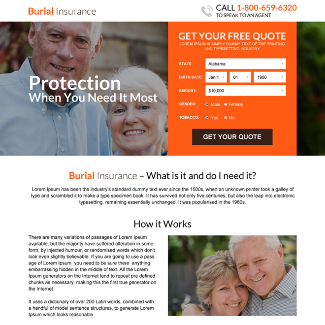 responsive burial insurance free quote lead capturing landing page Burial Insurance example