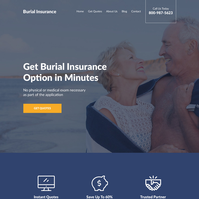 professional burial insurance free quotes responsive website design Burial Insurance example