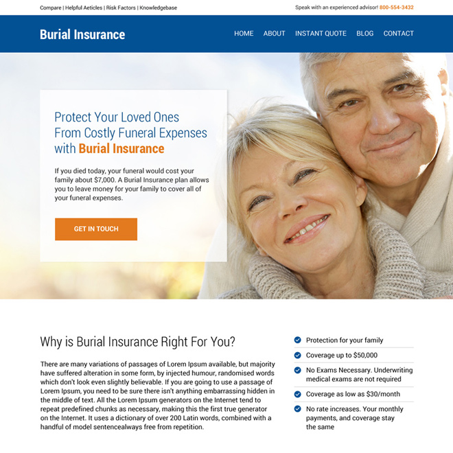 burial insurance professional and effective website design Burial Insurance example