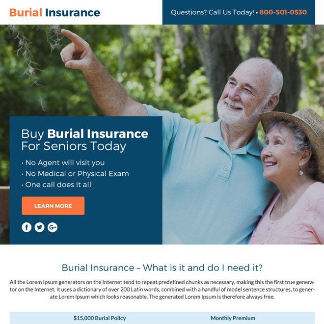 burial insurance lead funnel landing page design Burial Insurance example