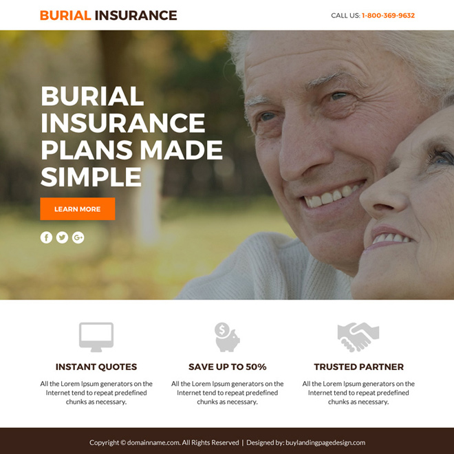 burial insurance plans lead funnel responsive landing page Burial Insurance example