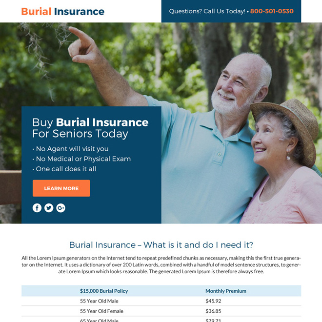 burial insurance lead funnel responsive landing page design Burial Insurance example