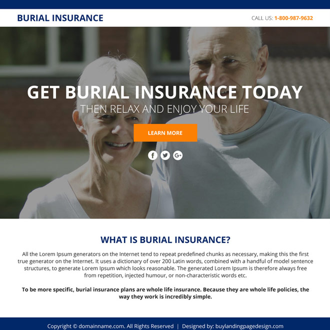 burial insurance sales funnel responsive landing page design Burial Insurance example