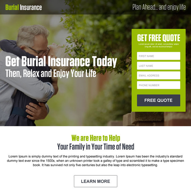 burial insurance lead generation responsive landing page Burial Insurance example