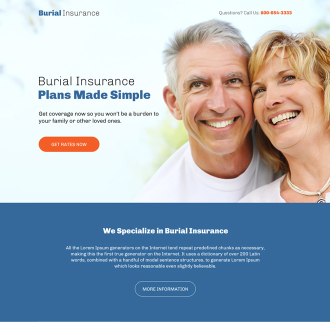 professional burial insurance responsive landing page design Burial Insurance example