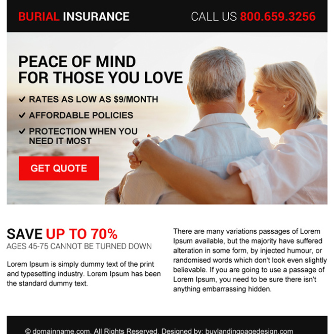 minimal burial insurance free quote ppv landing page design Burial Insurance example