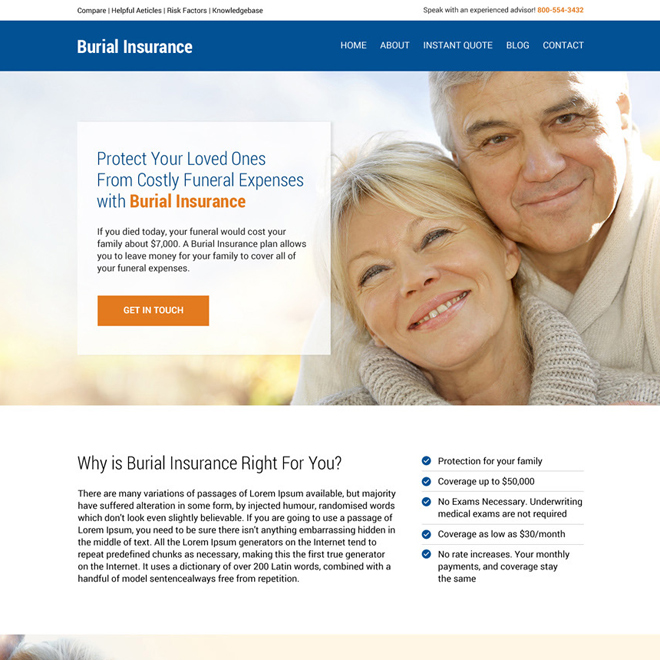 burial insurance lead generating responsive website design Burial Insurance example