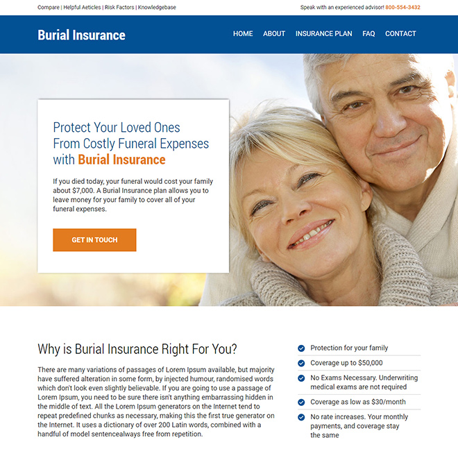 burial insurance lead generating responsive website design Burial Insurance example