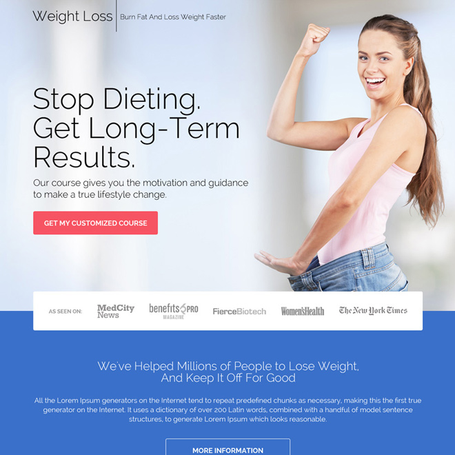 weight loss customized course downloading responsive landing page design Weight Loss example