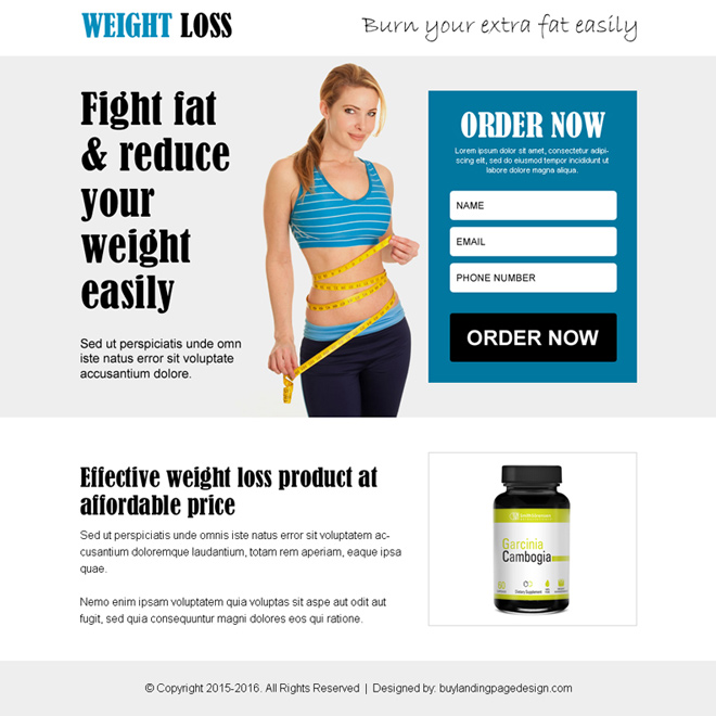 burn your extra fat weight loss product ppv landing page design Weight Loss example