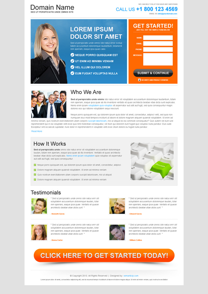 business opportunity free landing page  example